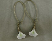 White Lily lucite and antiqued brass earrings