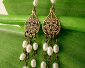 Brass Filigree and white rice freshwater pearl dangle earrings