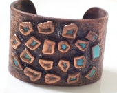 RESERVED Rare Huge Vintage BELL Copper Turquoise Chunk Cuff Bracelet