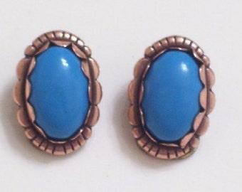 Copper Turquoise Earrings, Vintage Copper Faux Turquoise Southwestern Clip Earrings, Copper Jewelry, Southwestern Jewelry, Tribal Earrings