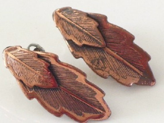 Vintage BELL Copper Layered Textured LEAF Clip Earrings