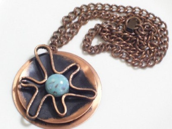 Chunky Vintage Copper Bold Modernist Abstract Faux Stone Pendant Chain Necklace