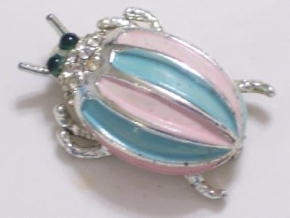 Vintage Enamel Rhinestone Crystal Metal BEETLE Bug Insect Pin Brooch