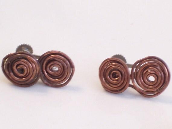 Vintage Copper Swirl Coiled Wire Screwback Earrings
