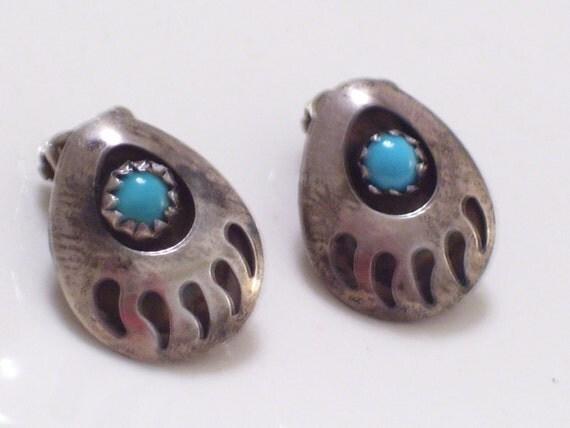 Vintage Native American Navajo Sterling Silver Turquoise Bear Paw Southwestern Tribal Clip Earrings