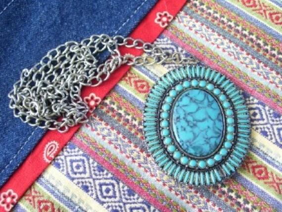 Huge FLORENTA Faux Turquoise Silver Pendant Necklace
