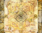 Silk Cloth - Book of Kells - silk crepe de chine 18 x 20
