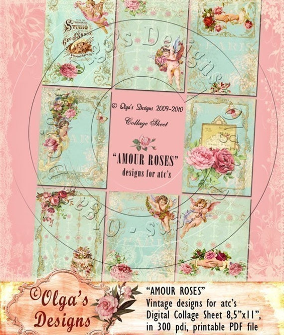 AMOUR ROSES, DESIGNS FOR ATC's, Digital Collage Sheet, in 300 pdi, printable PDF file