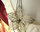 Layered Statement Necklace Star-Shaped  Flower Focal  - Star Flower