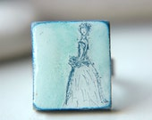 Bridal Ring Wearable Art Adjustable Scrabble Tile  - Something Blue.