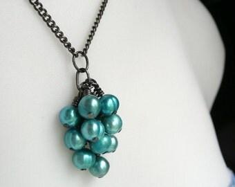 Pearl Cluster Necklace Turquoise Aqua Bridal   - Aqua Blue