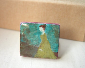 Statement Ring Miniature Art Hand Painted Adjustable - Miss Fanny Price