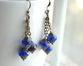 Boho Sapphire Blue Czech Glass Dangle Earrings - Sapphire Lanterns.