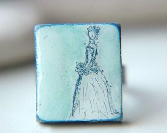 Bridal Ring Wearable Art Adjustable Scrabble Tile  - Something Blue.