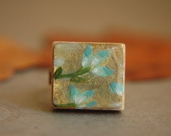 Floral Ring Teal and Gold Hand Painted Original Art  - Teal Blossoms.