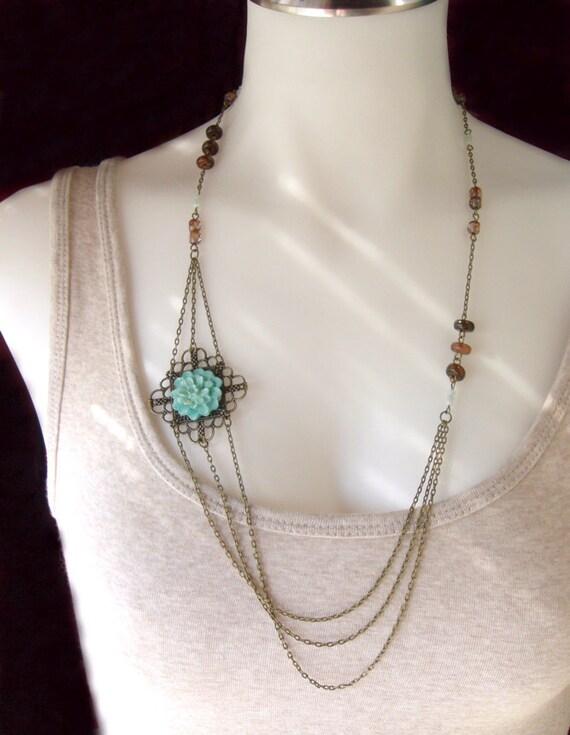 Layered Brass and Czech Glass Flower Necklace - Winter Garden.
