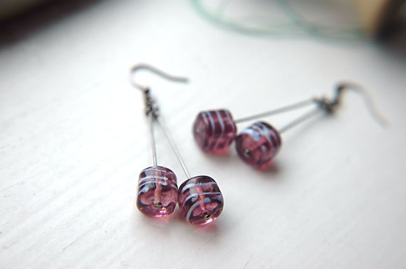 Purple Swirl Dangle Earrings Cube Lampwork Beads  - Grape Sours.