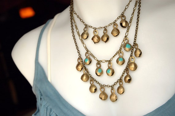 Bohemian and Rustic Bronze Bell Bib Necklace - The Nomad.