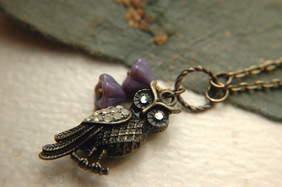 Owl Pendant Necklace Rhinestone Czech Glass Flowers - The Pale Eyed Owl.