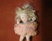 All Bisque German Miniature Doll 2 1/4 inches Plus -