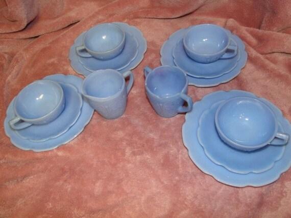 Jeanette Junior Set Blue Delphite Glass Cherry Blossom-
