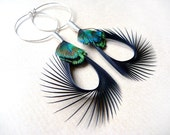 Peacock Feather Earrings in Black and Iridescent Green on Silver Hoops