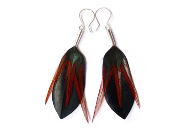 Black Iridescent Feather Earrings in Leaf Shapes with Red Flashes