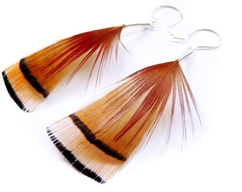 Natural Feather Earrings in Burnt Orange, Red and Black