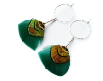 Teal and Green Iridescent Feather Earrings on Silver Hoops