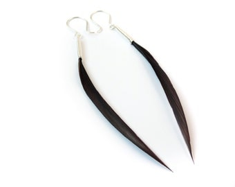 Modern, Elegant Feather Earrings in Rich Chocolate Brown