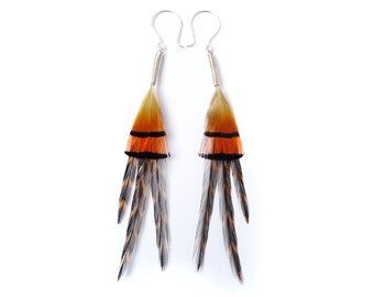 Geometric Triangle Feather Earrings in Bright Orange, Black and Brown