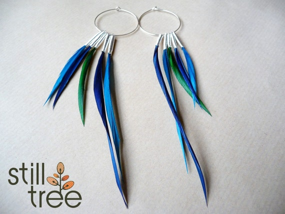 Unusual Feather Earrings on Silver Hoops in Greens and Blues