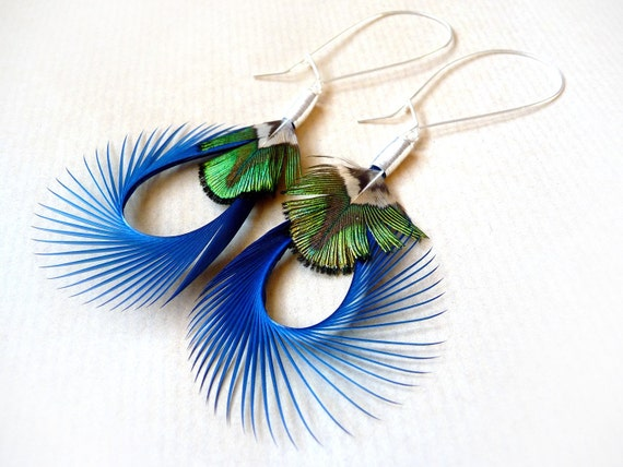 Spiky Feather Earrings in Blue and Iridescent Green on Large Silver Kidney Wires