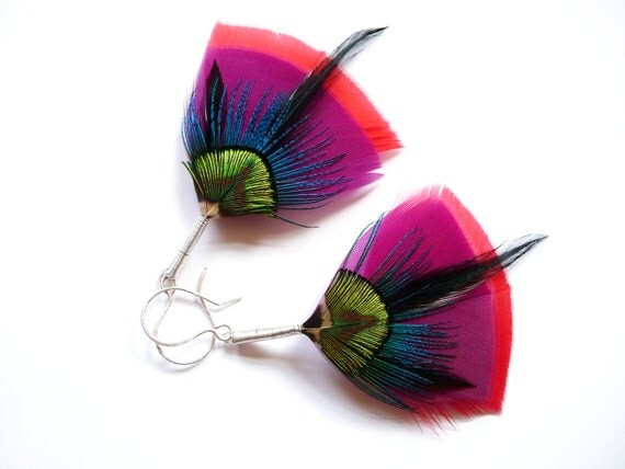 Bright, Colourful Large Feather Earrings in Red, Purple, Electric Blue, Lime Green + Black