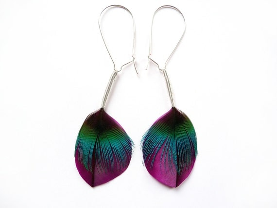 Leaf Shaped Feather Earrings in Satin Purple and Electric Blue