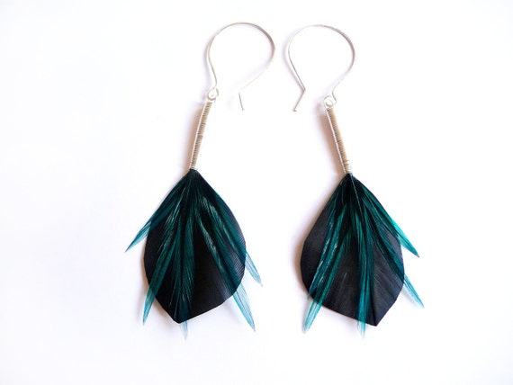Shiny Leaf Shaped Feather Earrings in Blue and Satin Black on Oversized Ear Hooks