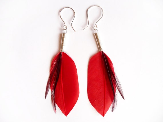 Shiny Dagger Shaped Feather Earrings in Red with Black Rooster Feather Accents