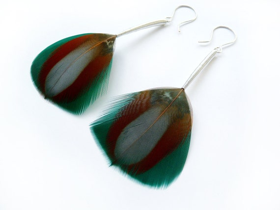 Elegant Feather Earrings in Burnt Orange, Teal and Grey with Long Silver Stems