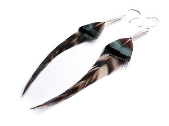 Dark Green Feather Earrings with Natural Chevrons