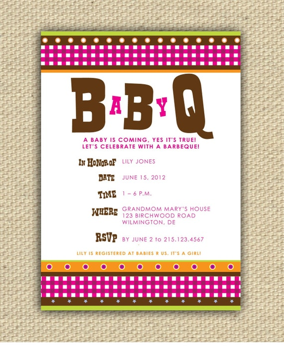 DIY Printable Baby BBQ Shower Invitation - BaByQ