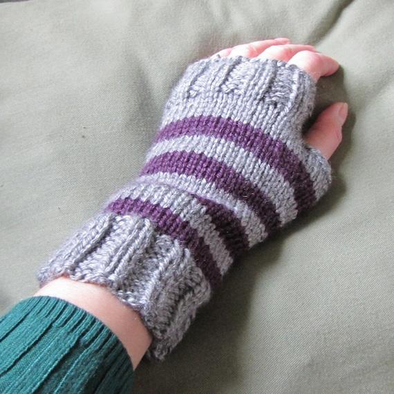 Whitaker Knits gray and plum wrist warmers
