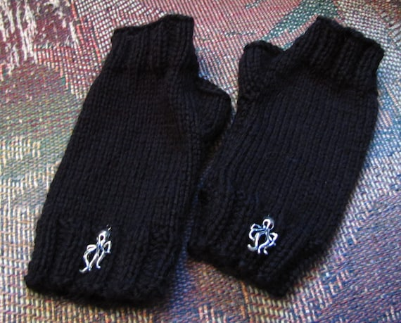 Black  fingerless mittens with octopus charms by Whitaker Knits