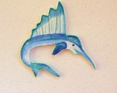 Swordfish Marlin Ceramic Tile Mosaic Tile Jewelry and Magnet Supplies