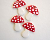 Gift tags Mushroom ceramic hand painted floral art tile ornaments, gift tags, earrings, pendants