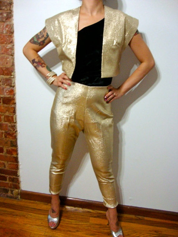 gold capri pants - Pi Pants
