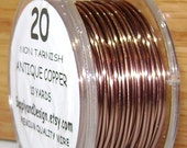 20 Gauge Antique Copper Non Tarnish Permanently Colored Enameled Wire, 30 Feet