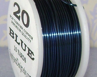 20 Gauge Blue Non Tarnish Permanently Colored Enameled Wire, 30 Feet