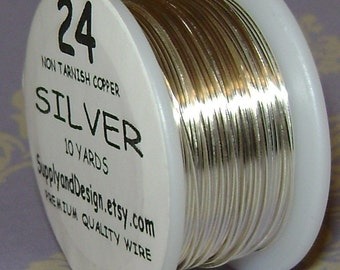 24 Gauge Silver Non Tarnish Permanently Colored Enameled Wire, 30 feet