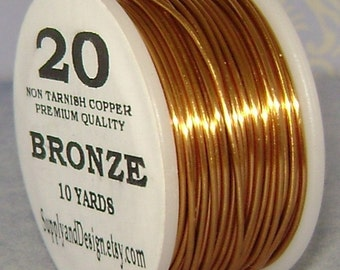 20 Gauge Bronze Non Tarnish Permanently Colored Enameled Wire, 30 Feet