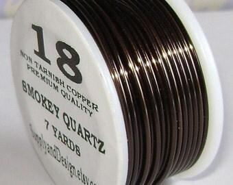 18 Gauge Smokey Quartz Non Tarnish Permanently Colored Enameled Wire, 21 feet